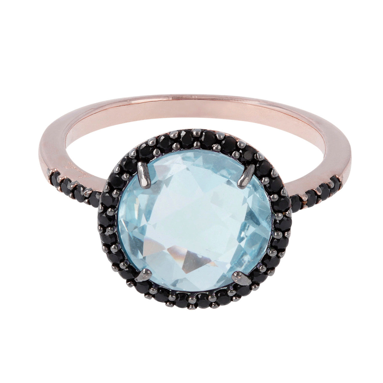 Solitaire engagement ring BLUE TOPAZ setting