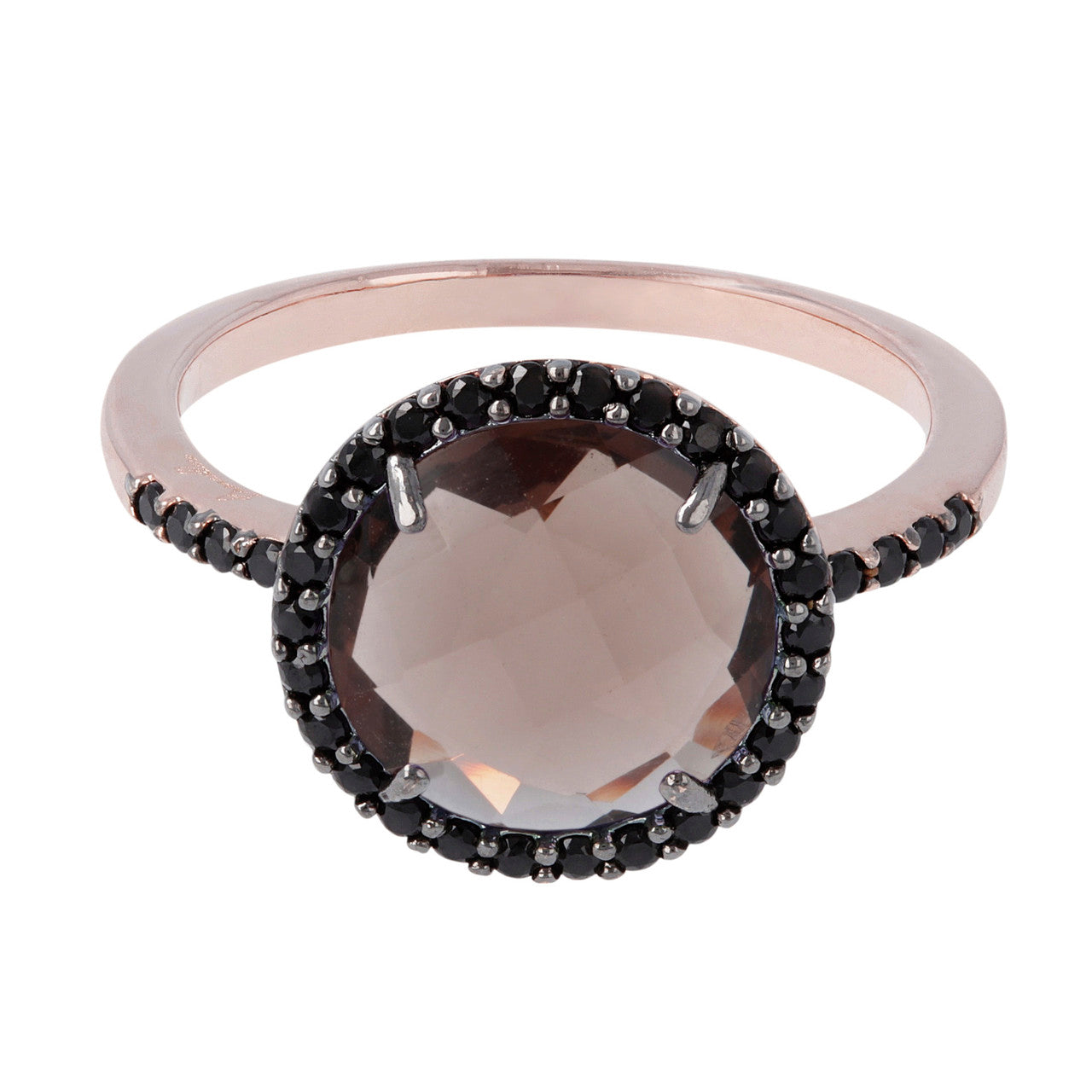 Solitaire engagement ring SMOKY QUARTZ setting