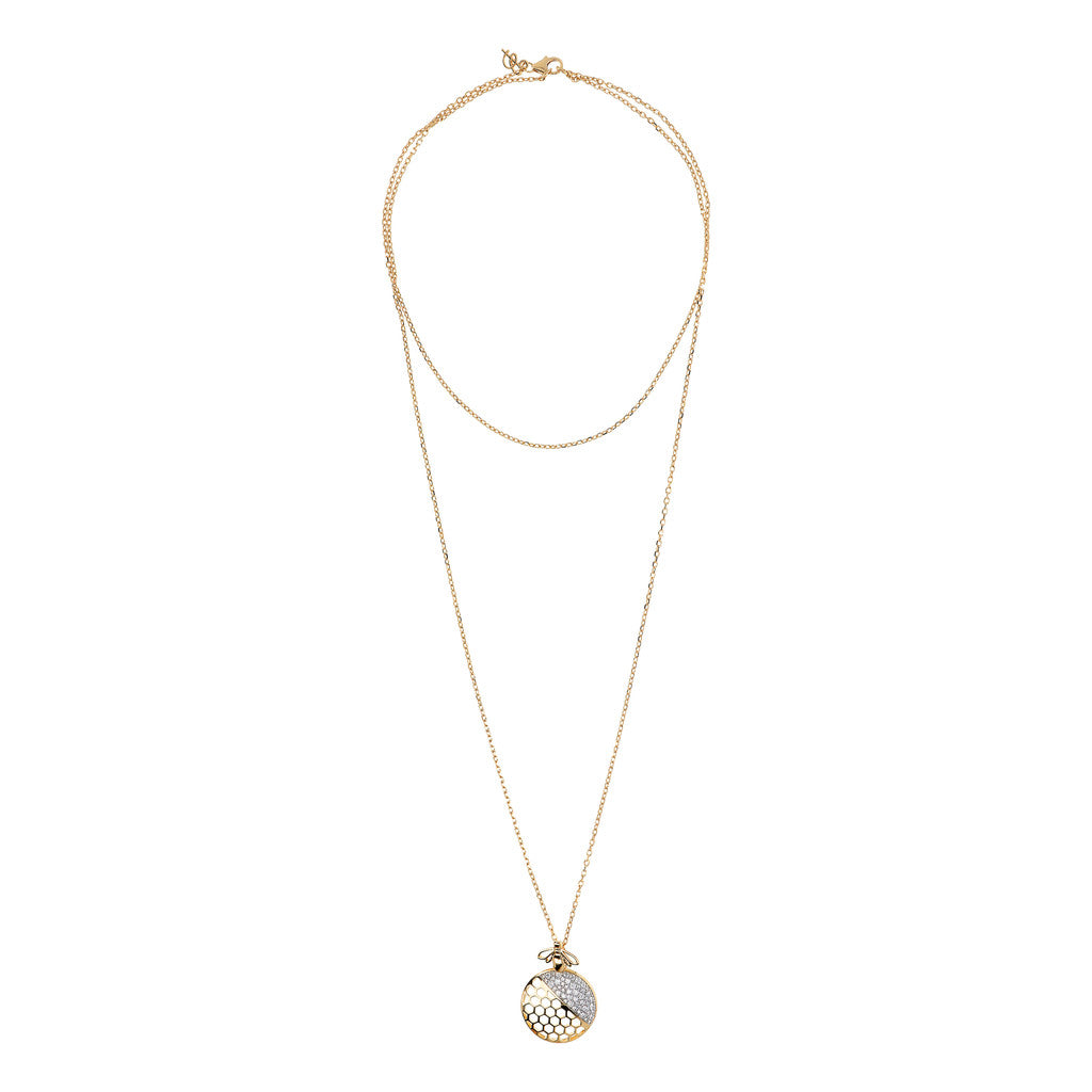 BEE YOU BRONZALLURE GOLDEN Fancy necklace w/cz bee pendant - WSBZ01414Y from above