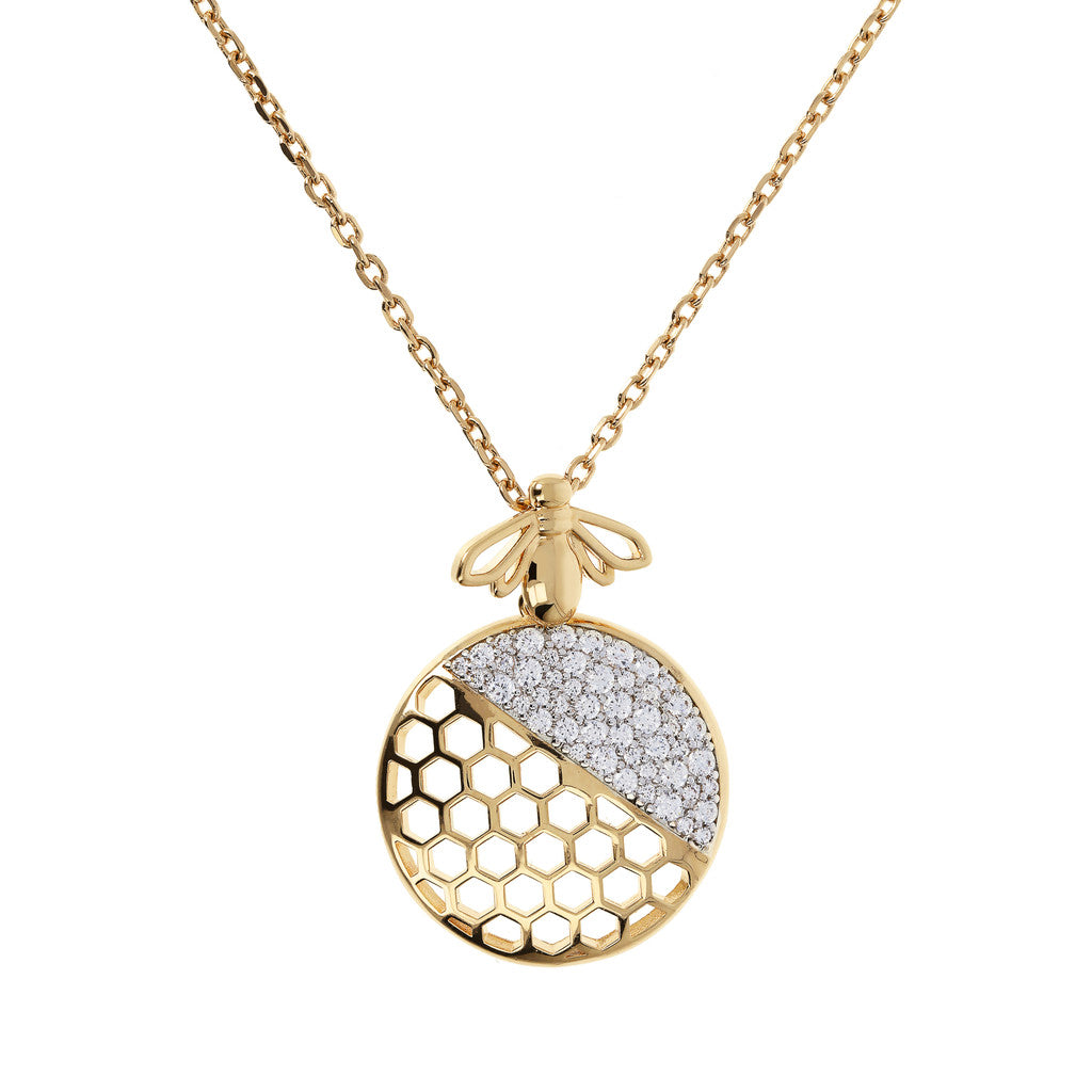 Bronzallure | Necklaces | BEE YOU BRONZALLURE GOLDEN Fancy necklace w/cz bee pendant - WSBZ01414Y