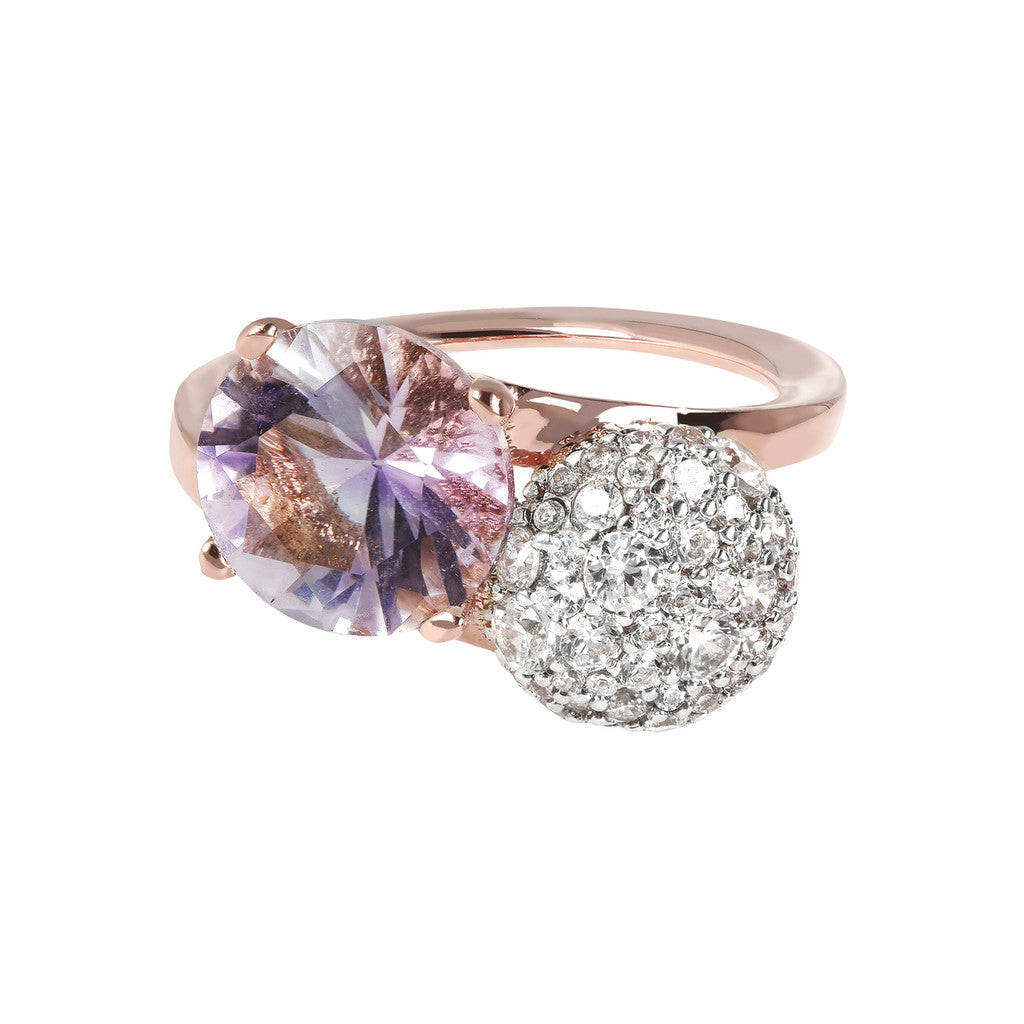Two Tone Twist CZ Gemstone Ring