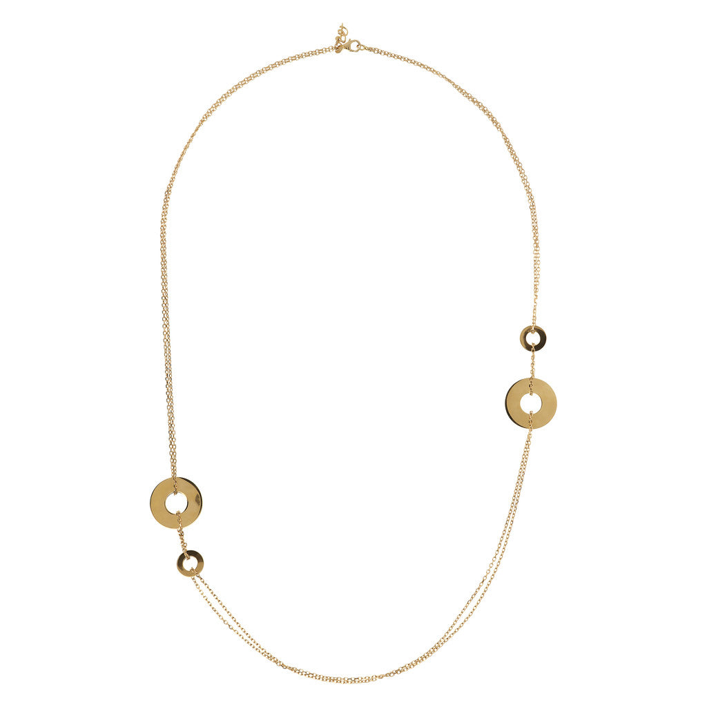 PUREZZA BRONZALLURE GOLDEN Fancy two strand rolo' necklace w/disc - WSBZ01428Y from above
