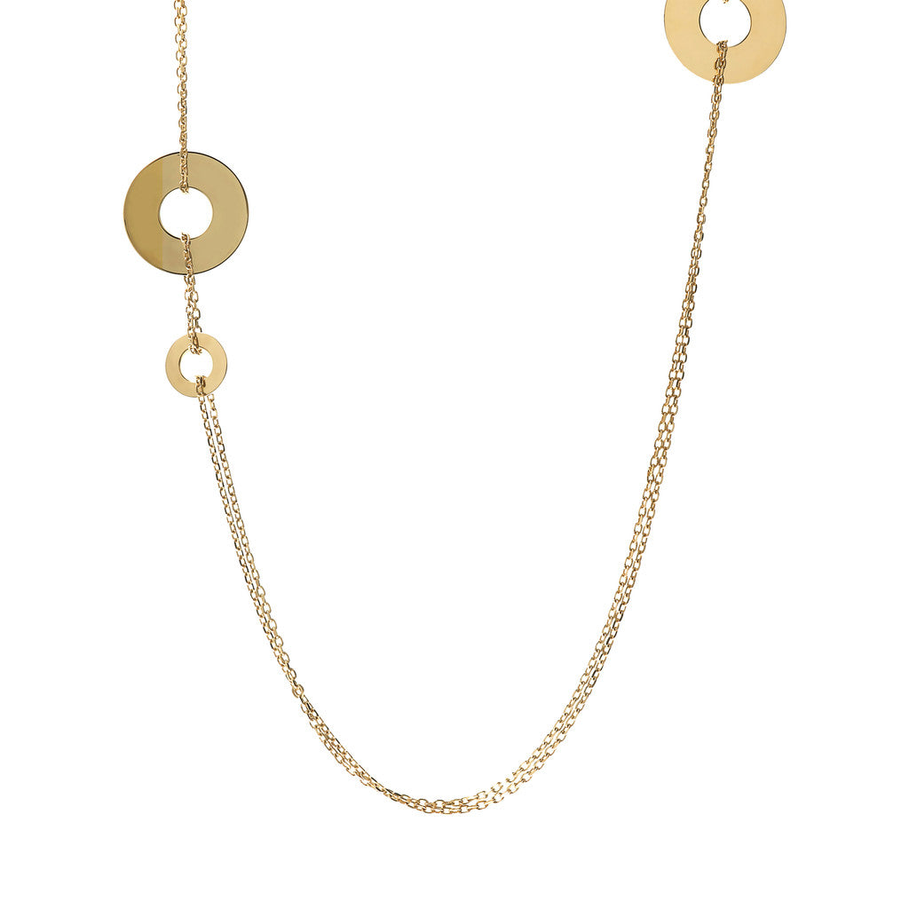 PUREZZA BRONZALLURE GOLDEN Fancy two strand rolo' necklace w/disc - WSBZ01428Y
