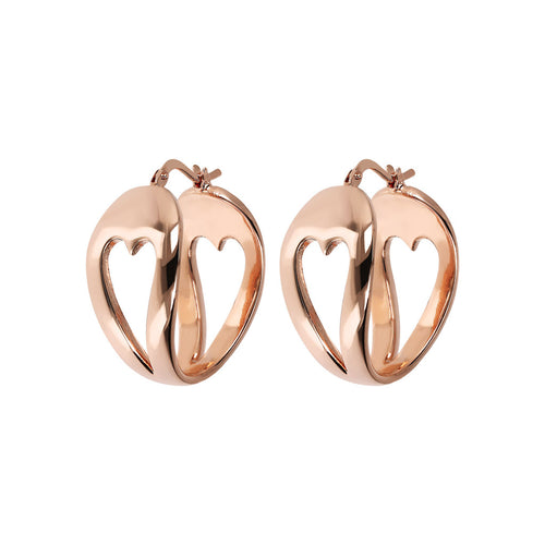 Bronzallure | Earrings | Golden Rosé Heart Shaped Hoop Earrings