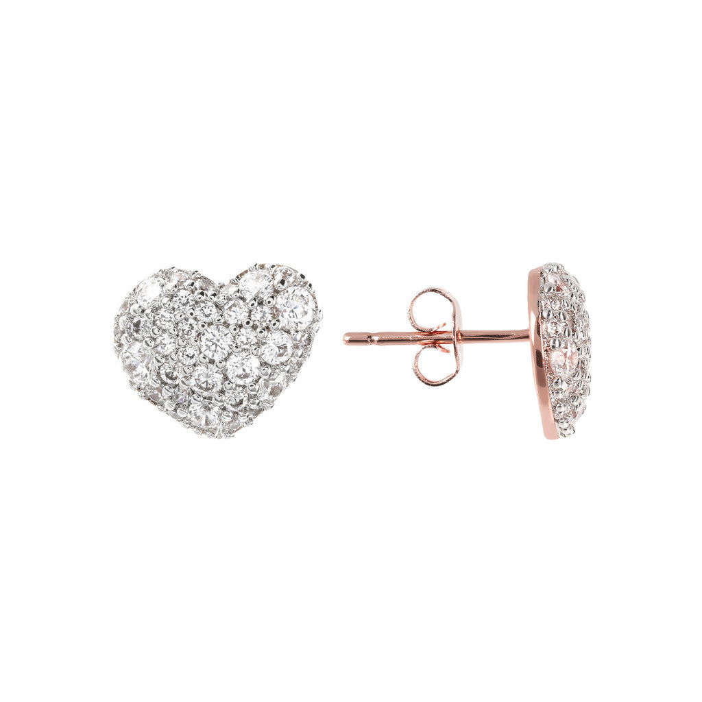 earrings, jewelry, bijoux, stud earrings, earrings for women, rose gold earrings, earrings for girls, hypoallergenic earrings, cute earrings, heart front and side