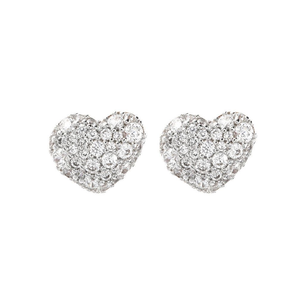 Bronzallure | Earrings | Heart Shaped CZ Button Earrings