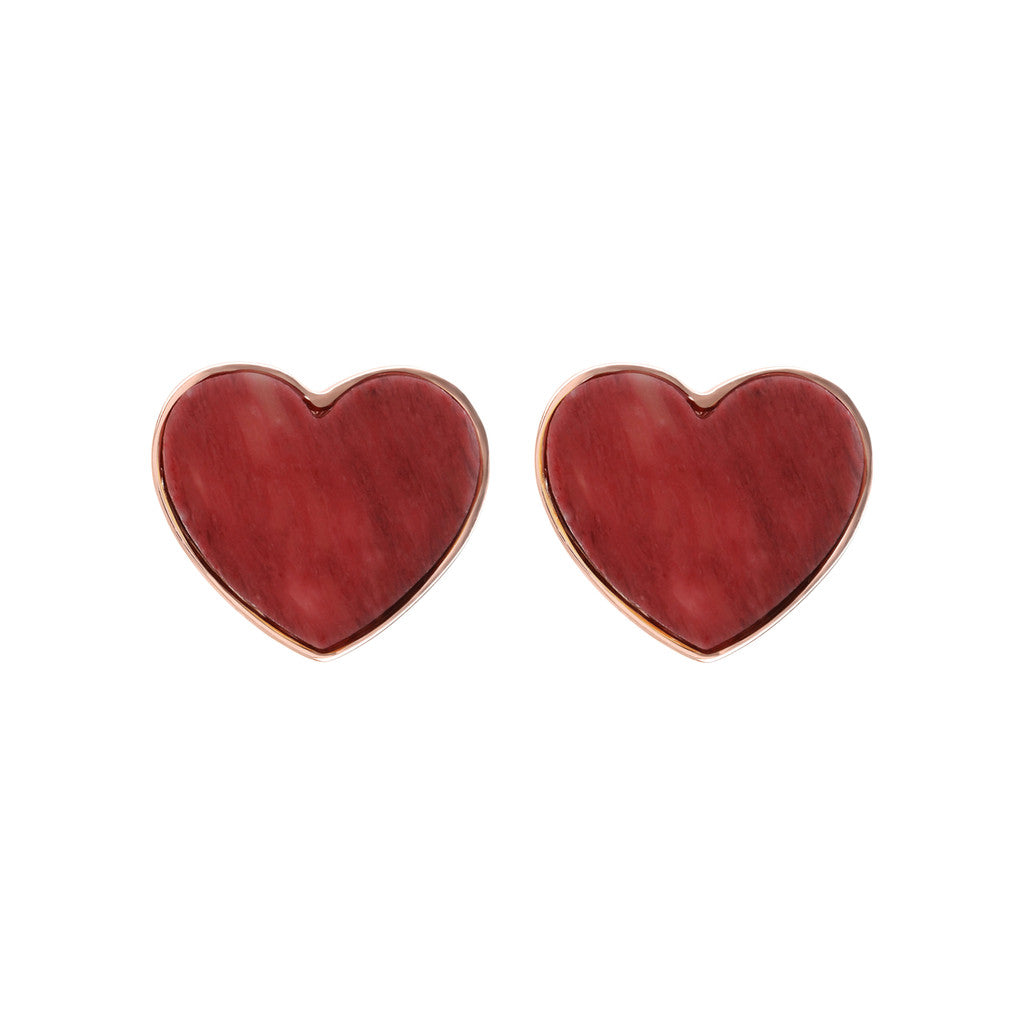 earrings, jewelry, bijoux, stud earrings, earrings for women, rose gold earrings, earrings for girls, hypoallergenic earrings, stone earrings RED FOSSIL WOOD