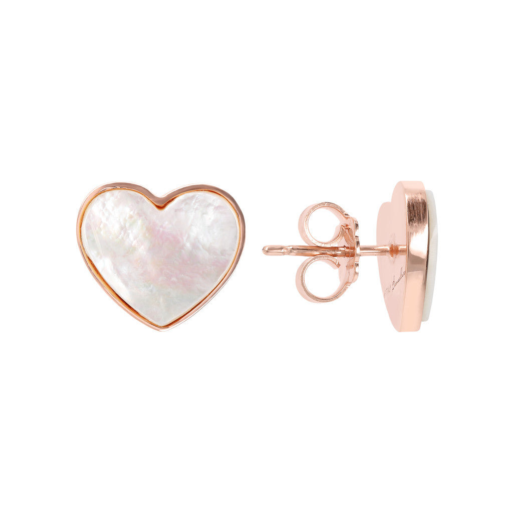 earrings, jewelry, bijoux, stud earrings, earrings for women, rose gold earrings, earrings for girls, hypoallergenic earrings, stone earrings WHITE MOP front and side