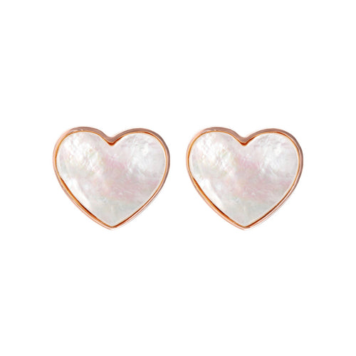 Bronzallure | Earrings | Flat Heart Stone Stud Earring