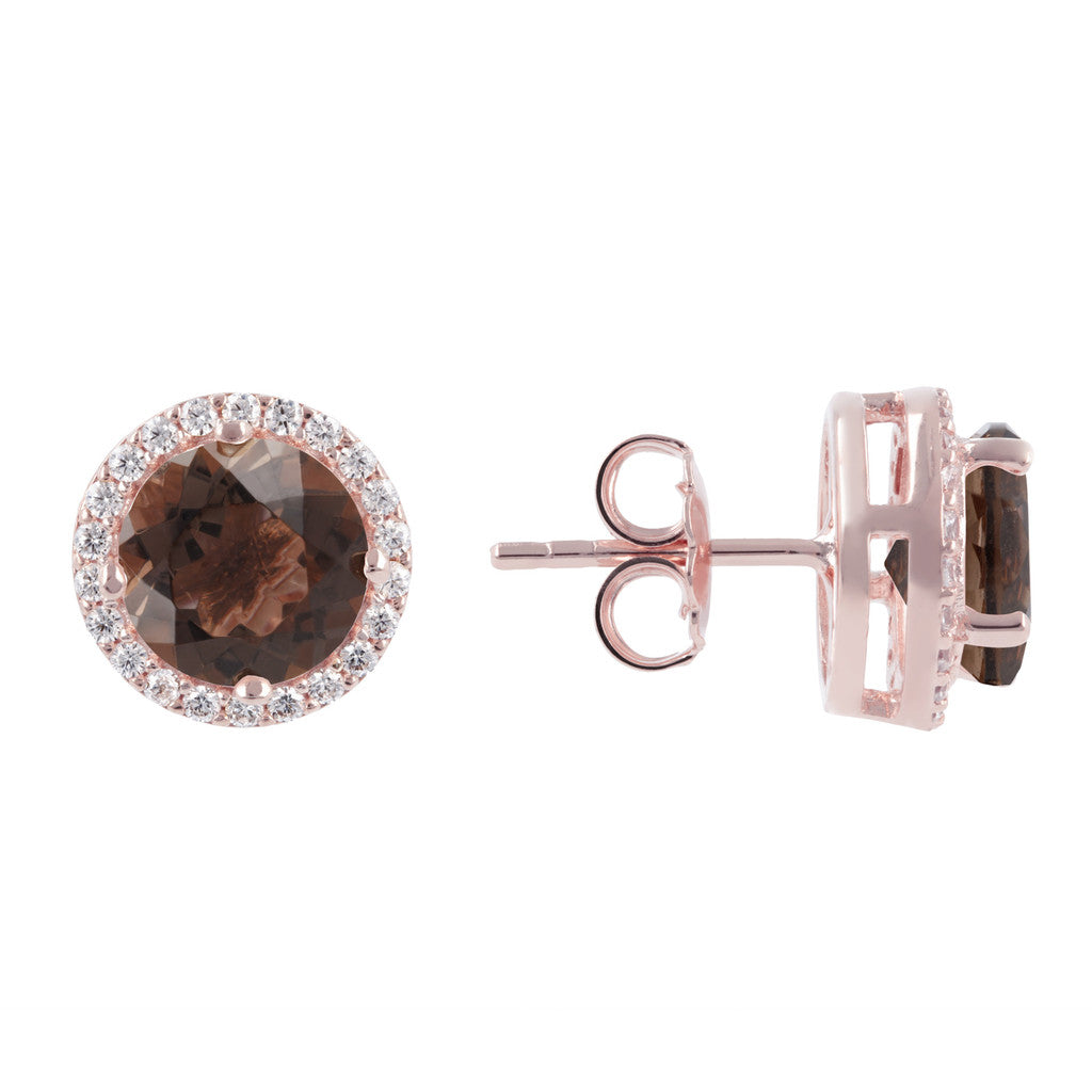 gemstone crown earrings SMOKY QUARTZ front and side
