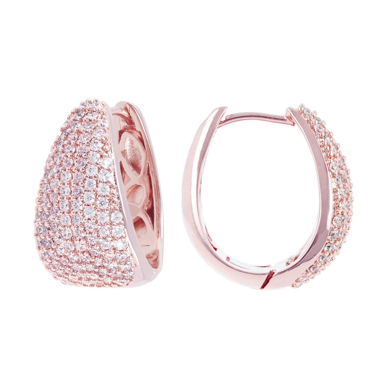 micro pave hoops CUBIC ZIRCONIA front and side