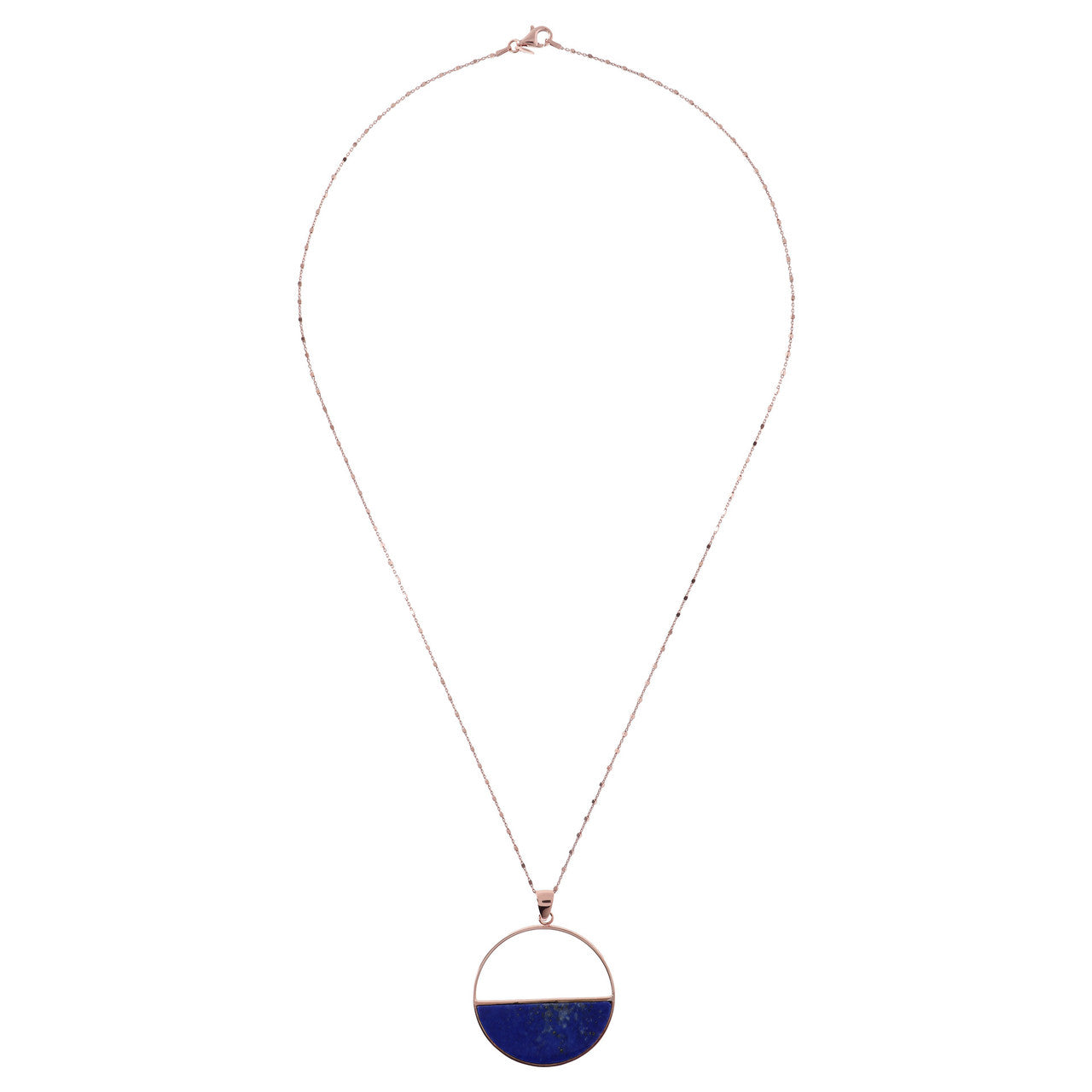 Circle Pendant Necklace LAPIS from above