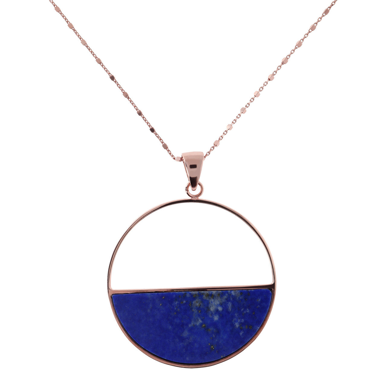 Circle Pendant Necklace with LAPIS mother of pearls