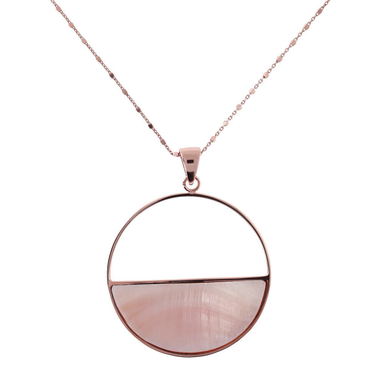 Circle Pendant Necklace with PINK MOP mother of pearls
