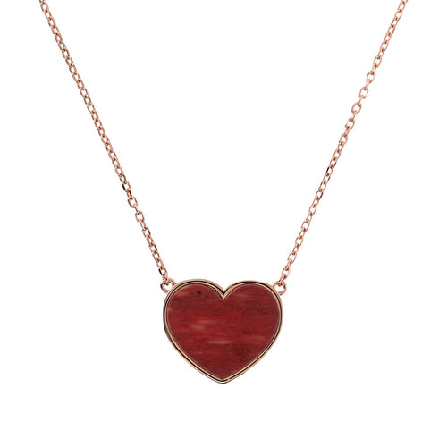 Bronzallure | Necklaces | Flat Natural Stone Heart Pendant Necklace
