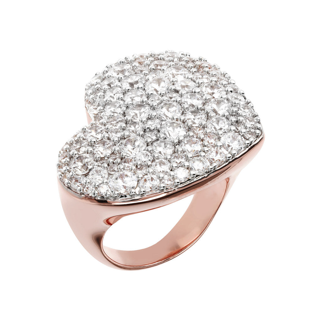 Bronzallure | Rings | CZ Pave and Golden Rosé Heart Ring