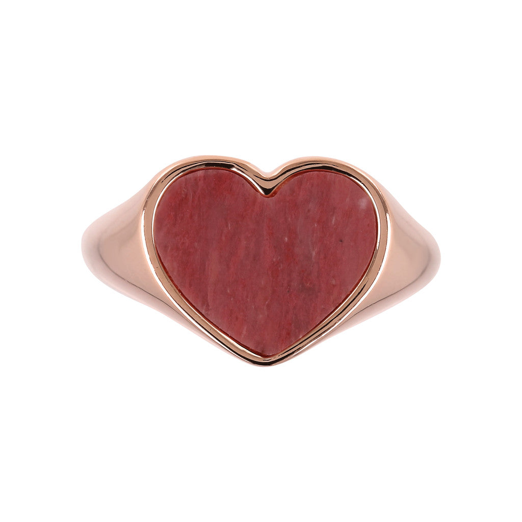 rings, jewelry, bijoux, rose gold rings, ring design, rings for women, heart ring, pink gold, semi precious stones, stone ring design RED FOSSIL WOOD setting