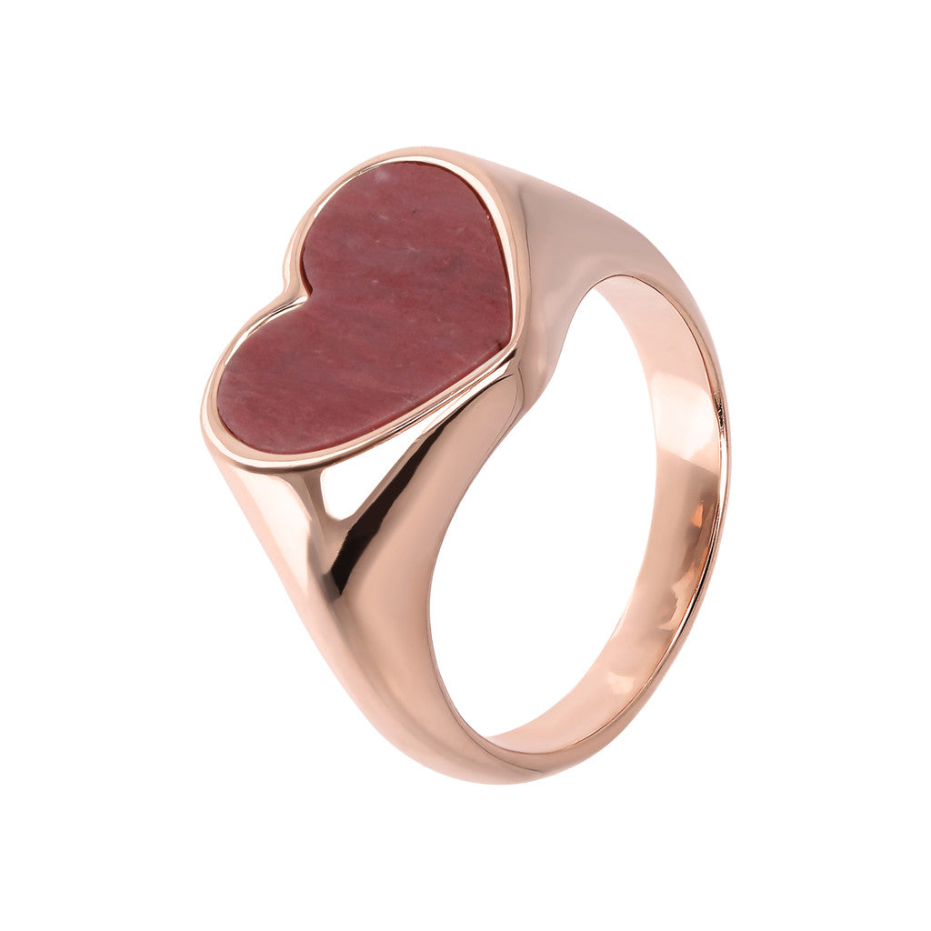 rings, jewelry, bijoux, rose gold rings, ring design, rings for women, heart ring, pink gold, semi precious stones, stone ring design RED FOSSIL WOOD