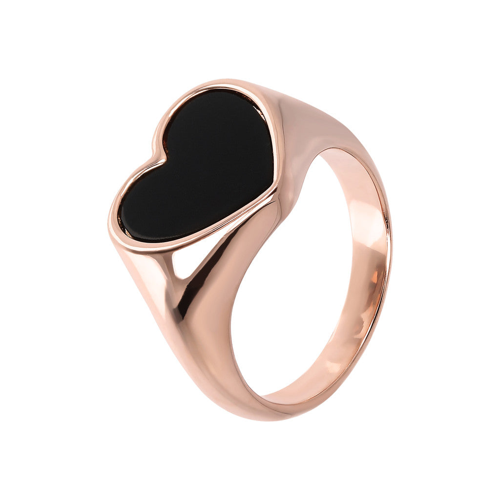 Rounded Ring with Heart Shaped Natural Stone
