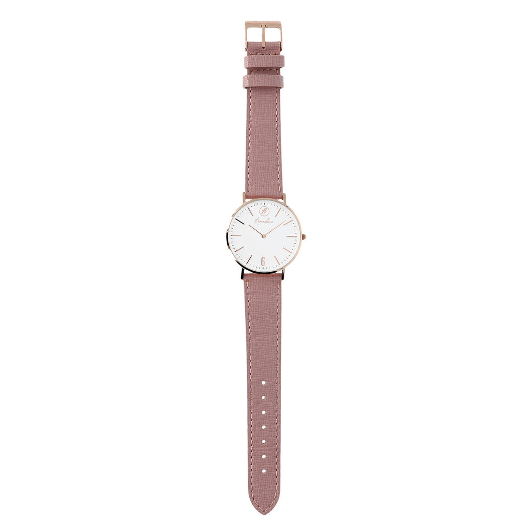 rose gold plated watch ROSE LEATHER bracelet
