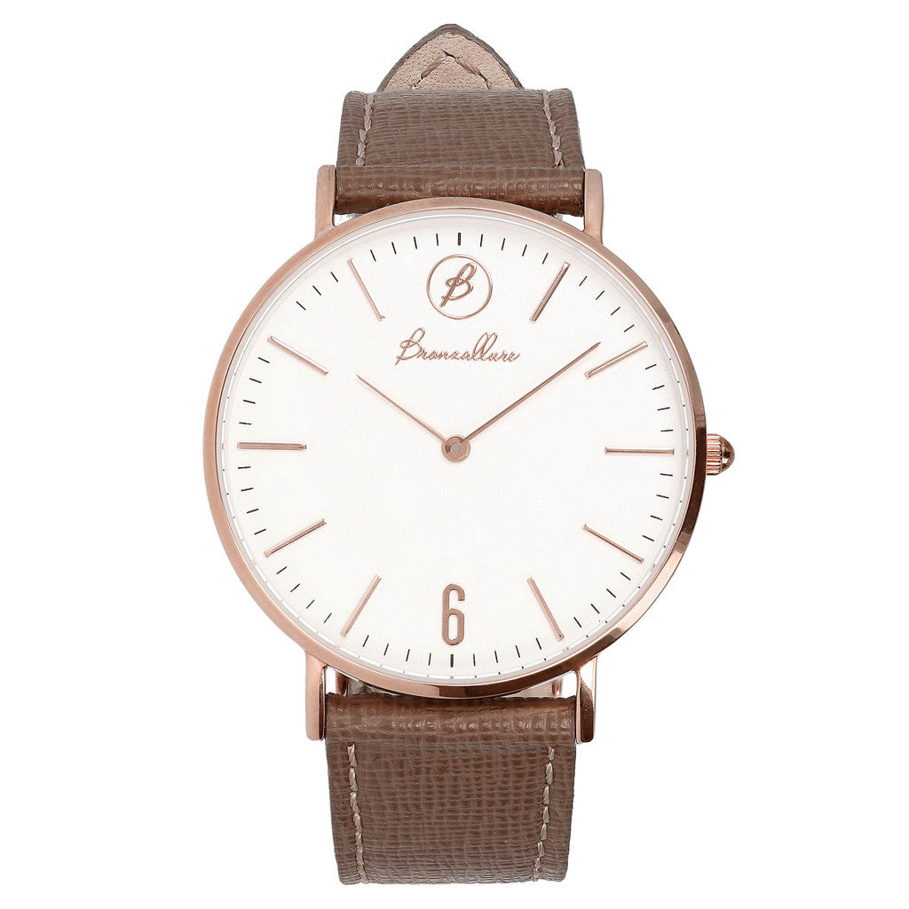rose gold plated watch TORTORA LEATHER