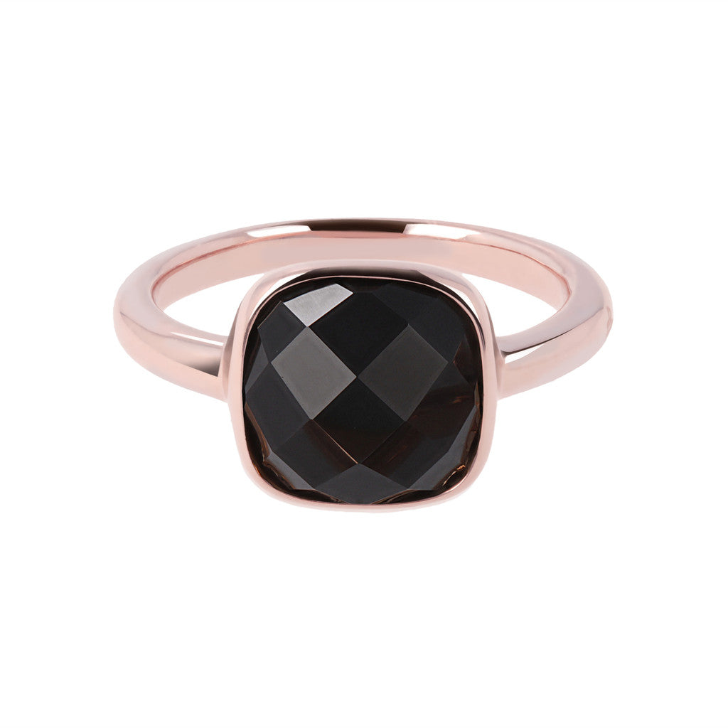 solitaire gemstone rings BLACK ONYX setting
