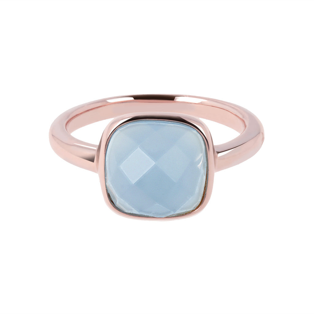 solitaire gemstone rings BLUE LACE AGATE setting