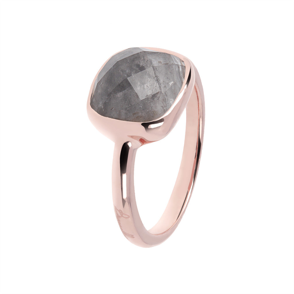 solitaire gemstone rings GREY QUARTZ