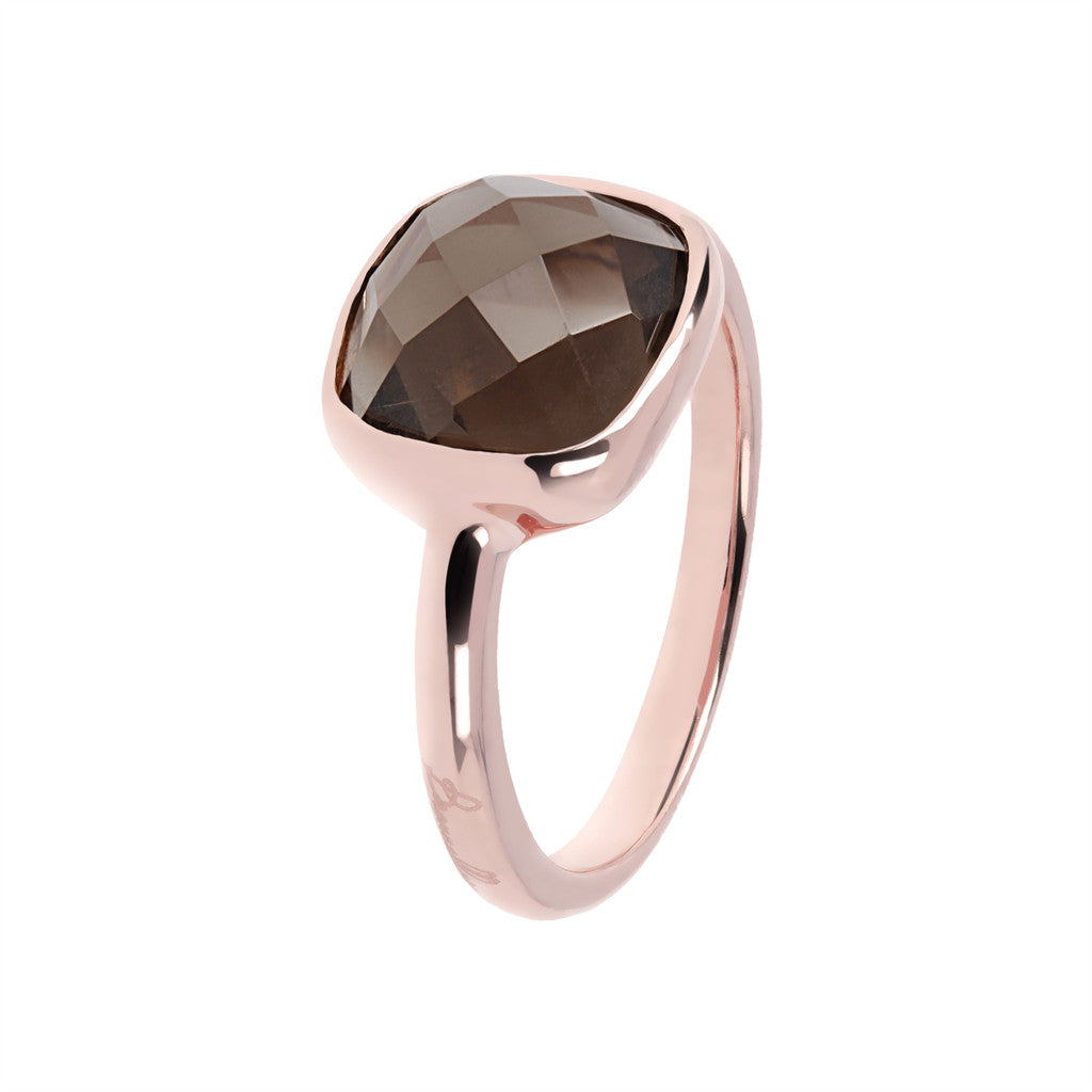 solitaire gemstone rings SMOKY QUARTZ