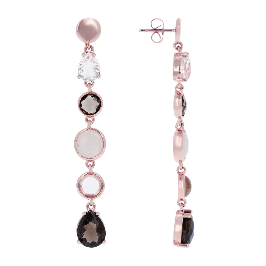 stone drop earrings front and side