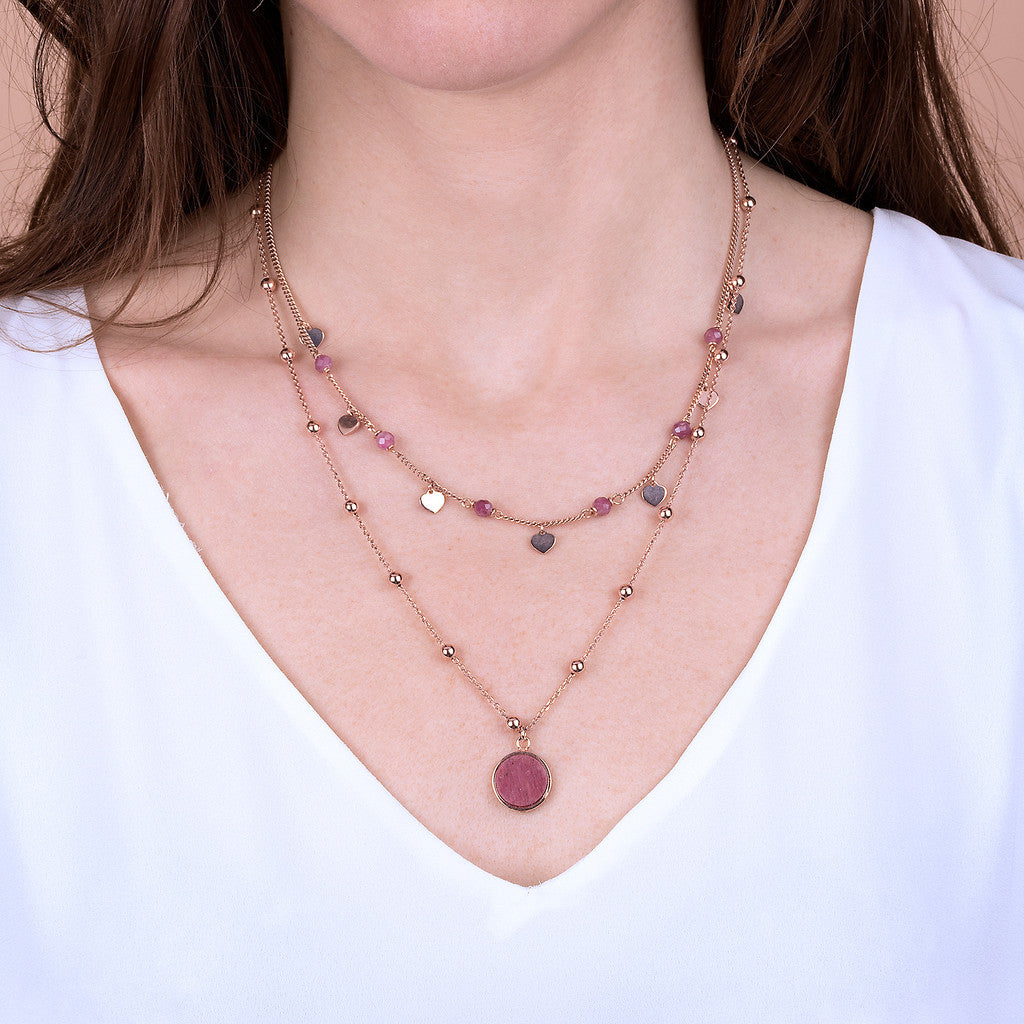 worn ALBA 2 STRANDS NECKLACE WITH FACETED GEMSTONE - WSBZ01793 RED FOSSIL WOOD