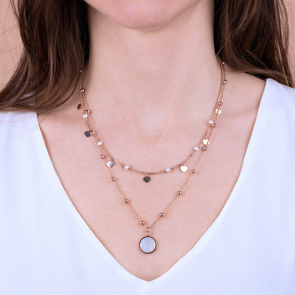 worn ALBA 2 STRANDS NECKLACE WITH FACETED GEMSTONE - WSBZ01793 WHITE MOP