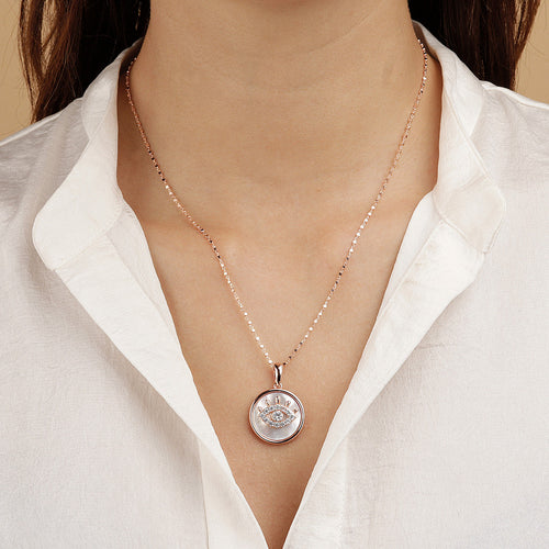 worn ALBA EYE CZ GEMSTONE AND MOTHER OF PEARL PENDANT WITH CUBIC CHAIN ADJUSTABLE NECKLACE - WSBZ01642 WHITE MOP
