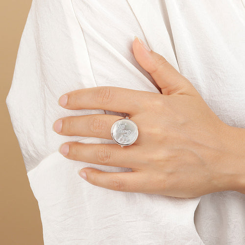 worn ALBA  FLAT DISC STONE RING WITH SNAKE CZ ELEMENT - WSBZ01549 WHITE MOP