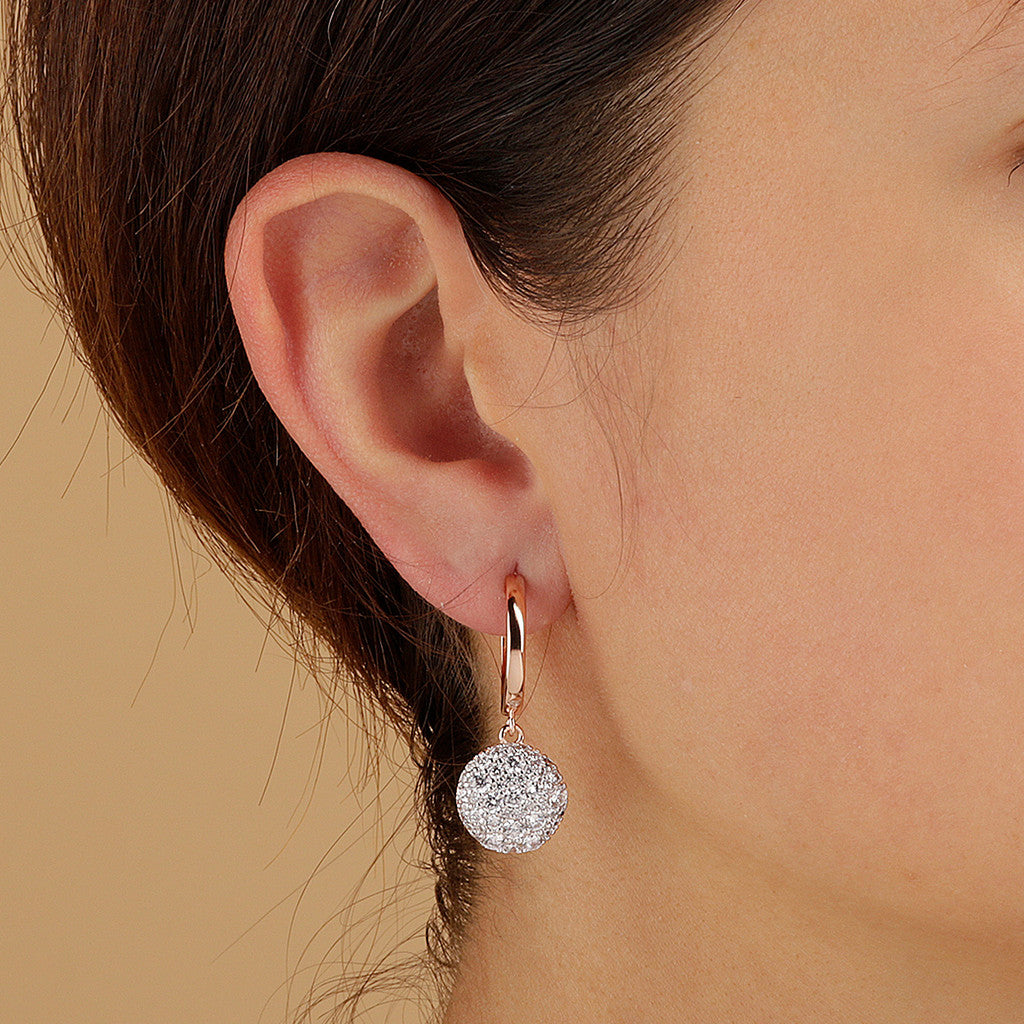 worn ALTISSIMA HOOP EARRINGS WITH DANGLE ROUND  PAVè  PENDANT  - WSBZ01592