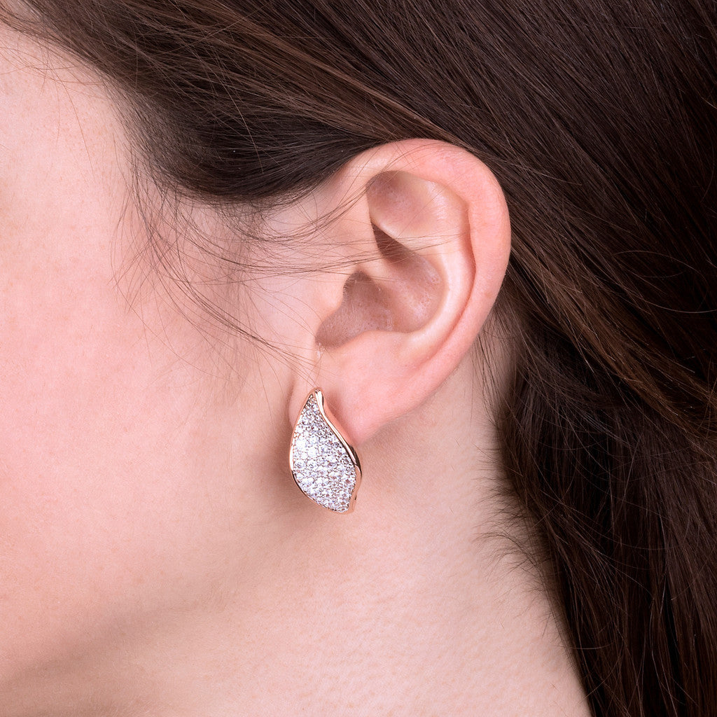 worn ALTISSIMA LEAF WITH CZ GEMSTONE EARINGS - WSBZ01779