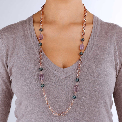 worn Amethyst and Fluorite Long Necklace