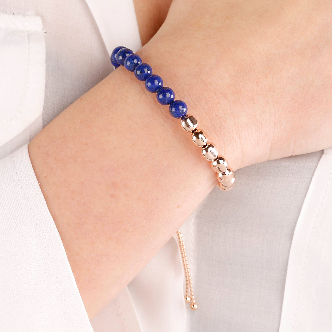 worn Beaded Friendship Bracelet with Gemstones LAPIS