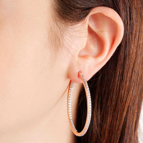 worn CZ Oval Hoop Earrings