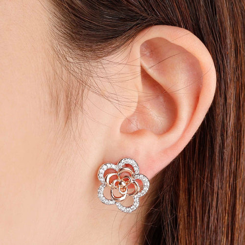 worn Camellia Flower Earrings