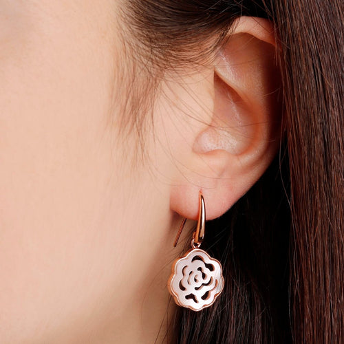 worn Camellia White Earrings