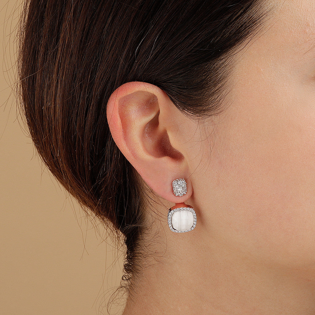 worn Centocinque Earrings with White Lace Agata