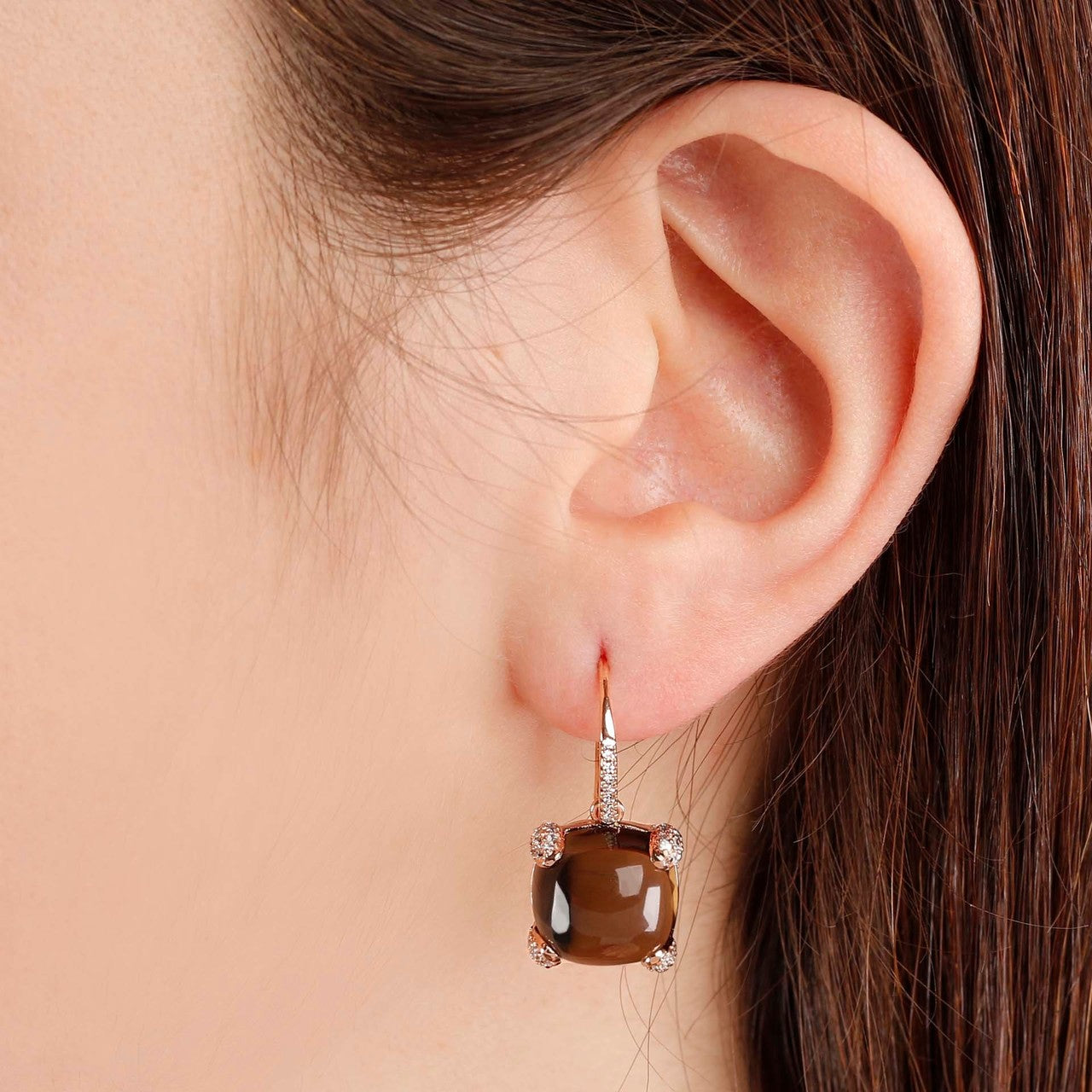 worn Classy cabochon earrings SMOKY QUARTZ