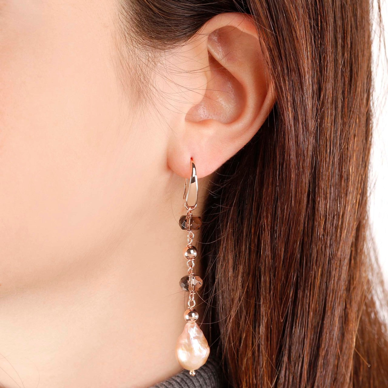 worn Dangle pearl earrings
