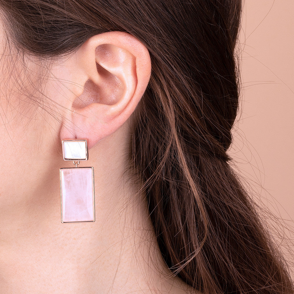 worn Decò Earrings ROSE QUARTZ