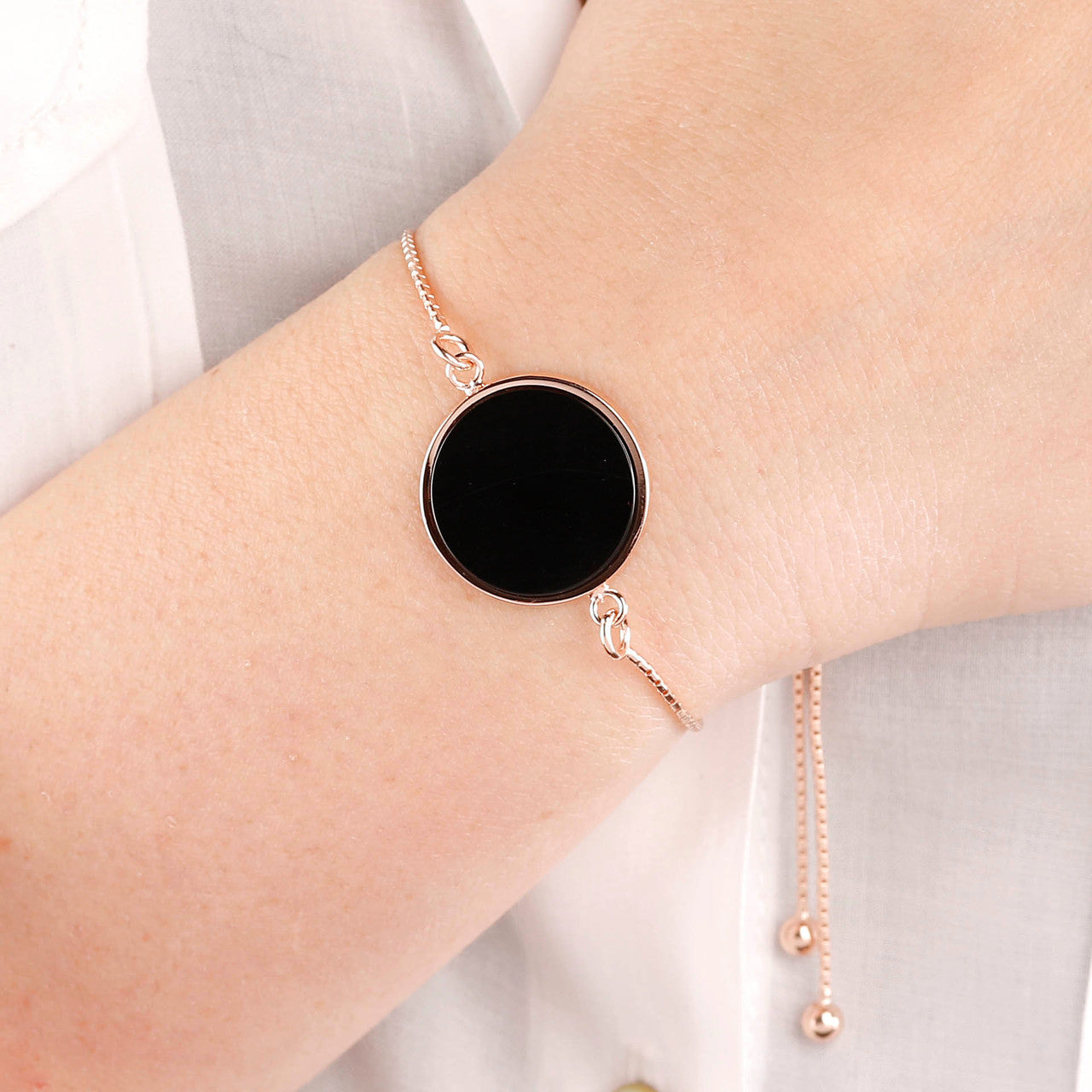 worn Disc Friendship Bracelet BLACK ONYX