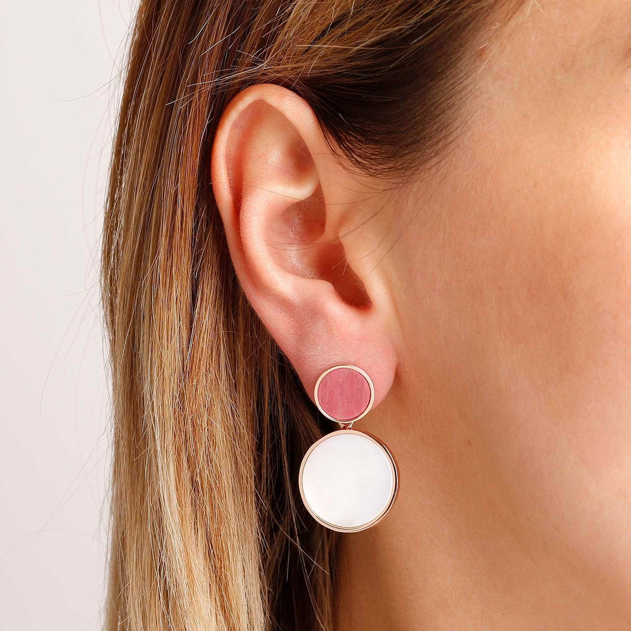 worn Double Disc Earrings RED FOSSIL WOOD