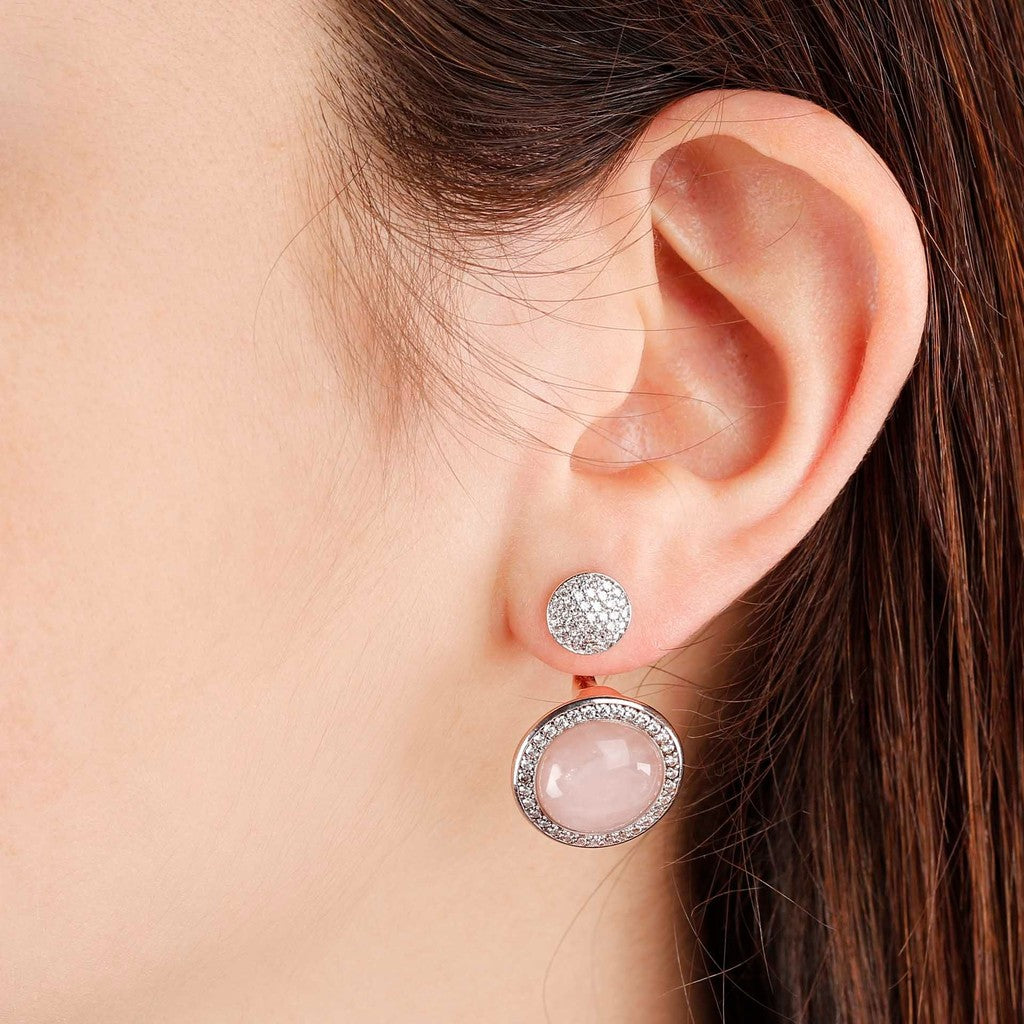 worn Drop Stone Earrings ROSE QUARTZ