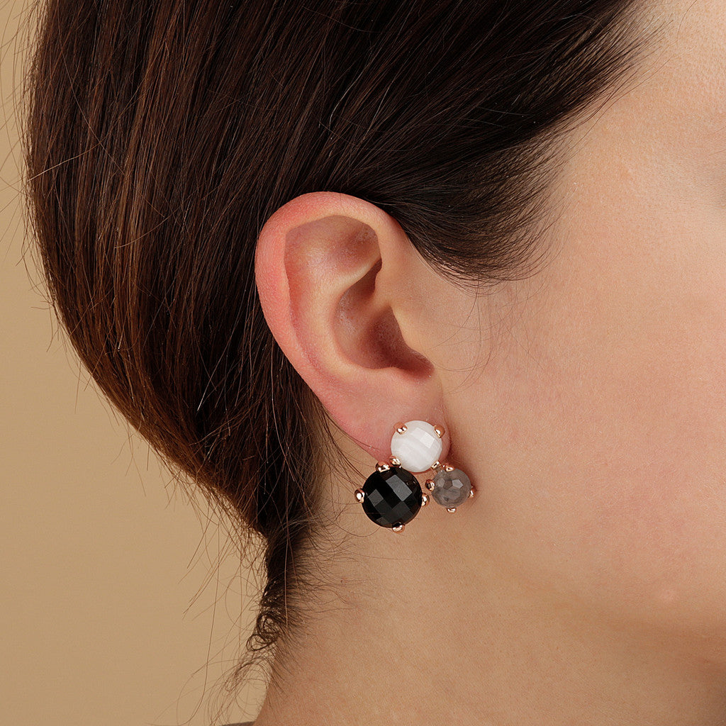 worn FELICIA VARIEGATA FACETED GEMSTONE EARRINGS - WHITE LACE AGATE+CLOUDY QTZ+BLACK ONYX - WSBZ01667