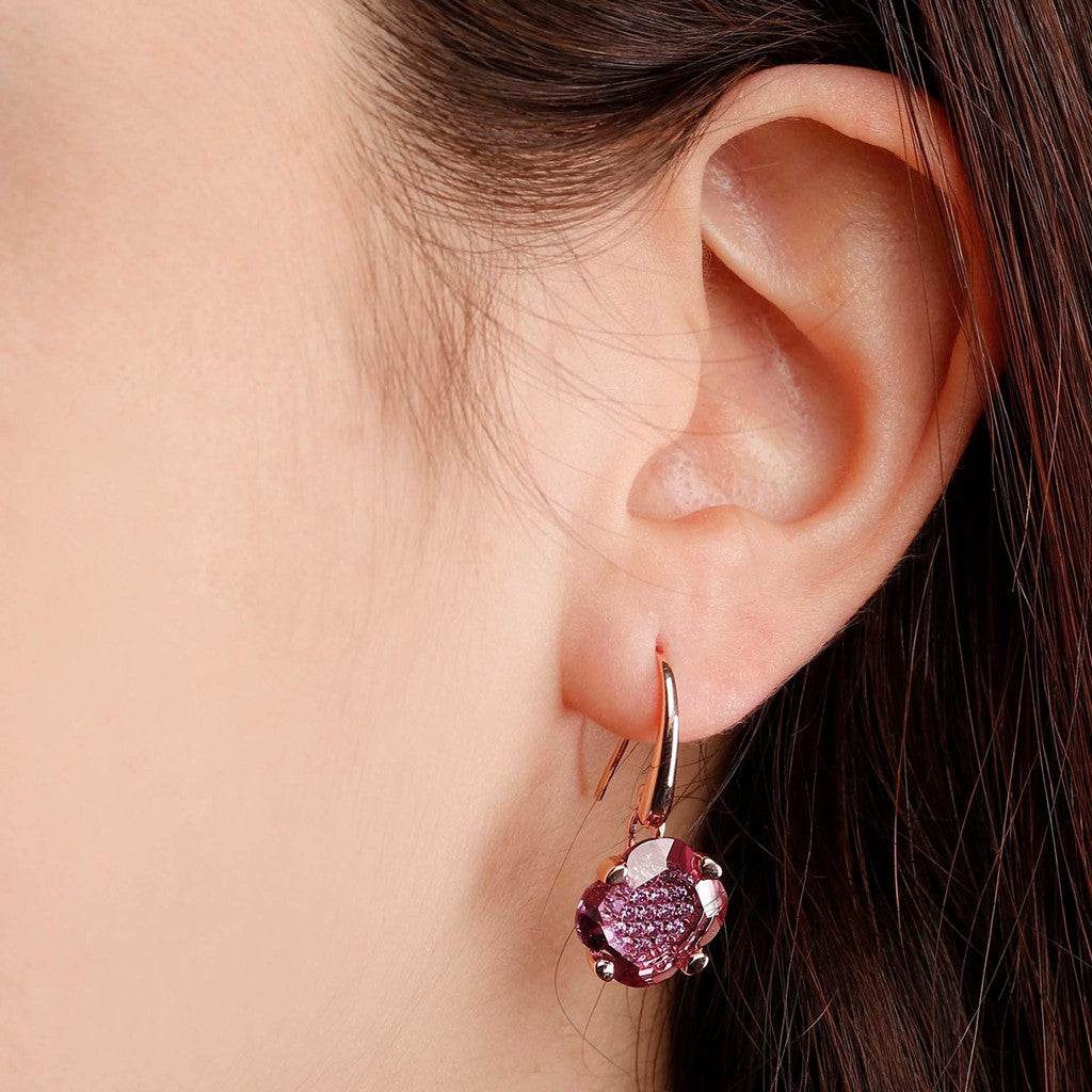 worn Fancy Flower Dangle Earrings HYDROTHERMAL RHODONITE